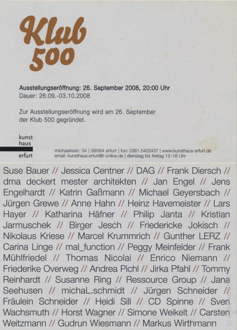 Ausstellung 'Klub 500', Kunsthaus Erfurt